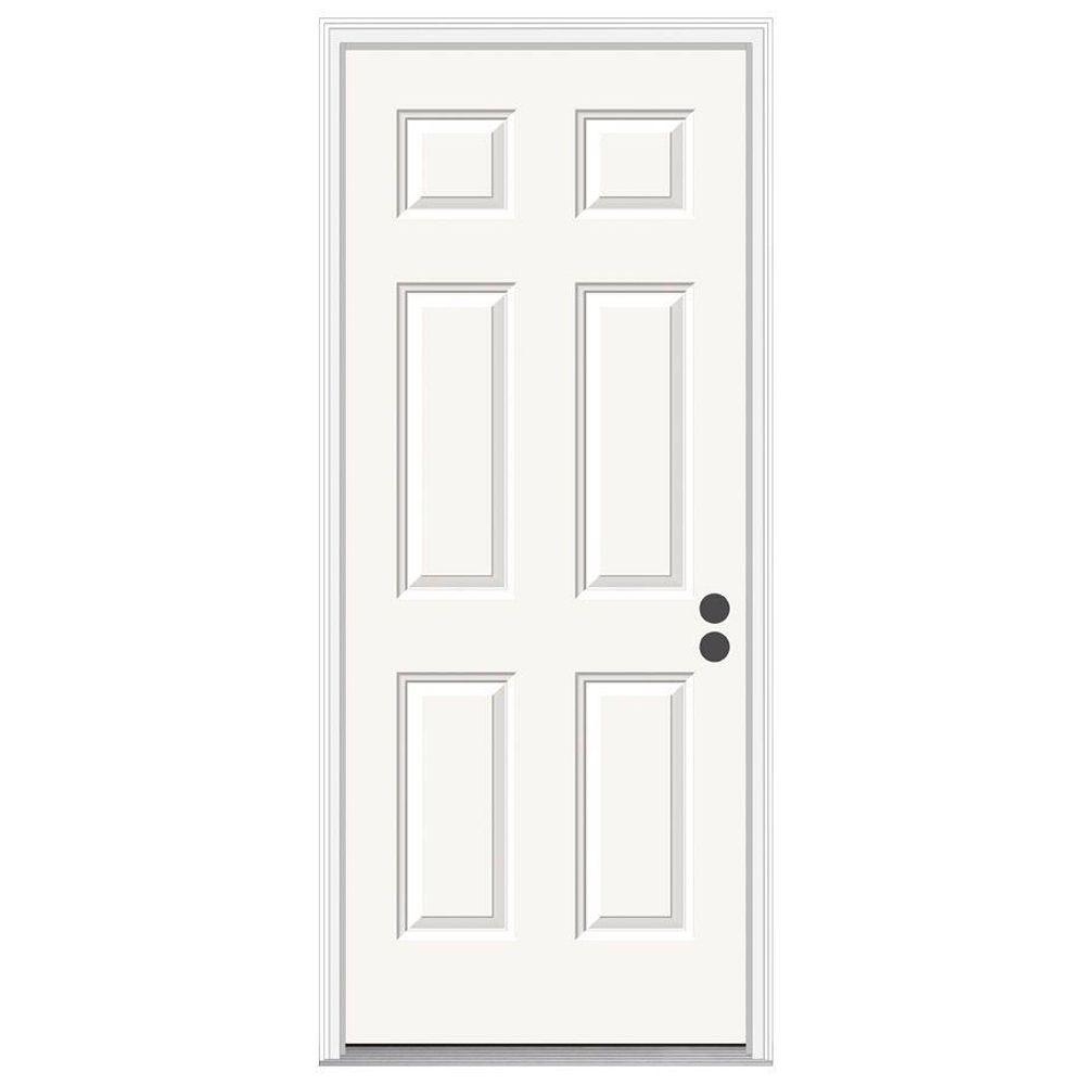 JELD-WEN 36 in. x 78 in. 6-Panel Primed Steel Prehung Left-Hand Inswing Front Door w/Brickmould