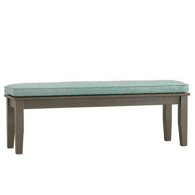 Verdon Gorge 55 in. Gray Oiled Wood Outdoor Bench with Blue Cushion