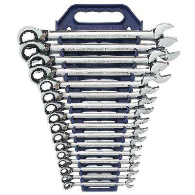 Metric Reversible Ratcheting Wrench Set (16-Piece)