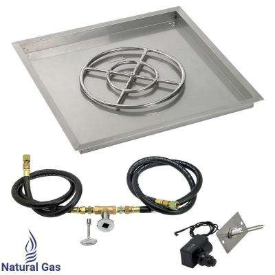 30 in. sq. Stainless Steel Drop-In Pan with Spark Ignition Kit (18 in. Fire Pit Ring) Natural Gas