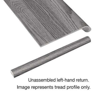 Misty Oak 94 in. x 12-1/8 in. Deep x 1-11/16 in. Height Vinyl Overlay Left Return to Cover Stairs 1 in. Thick