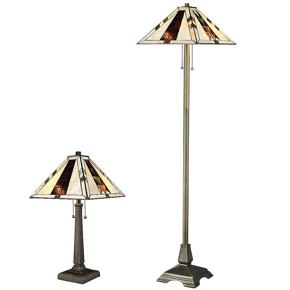 Serena D'italia Tiffany Navajo 60/23 in. Bronze Floor and Table Lamp Set