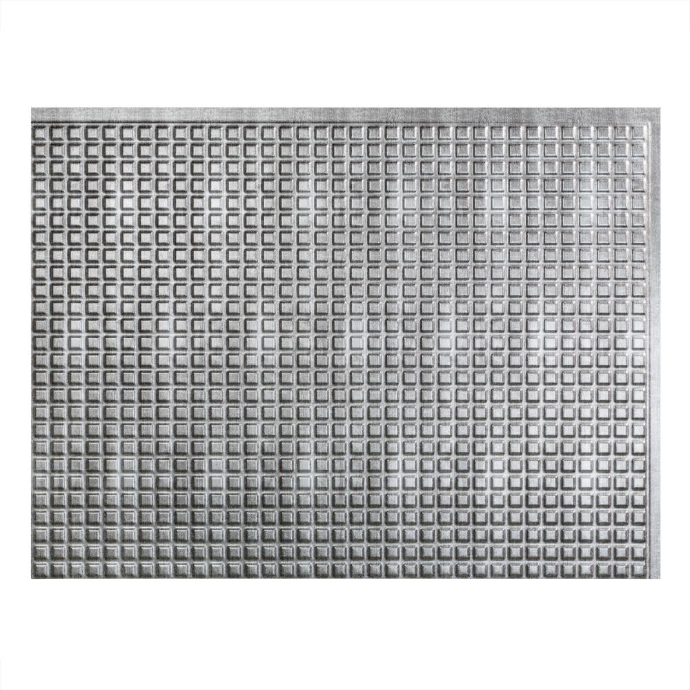 Square 18 in. x 24 in. Crosshatch Silver Vinyl Decorative Wall
