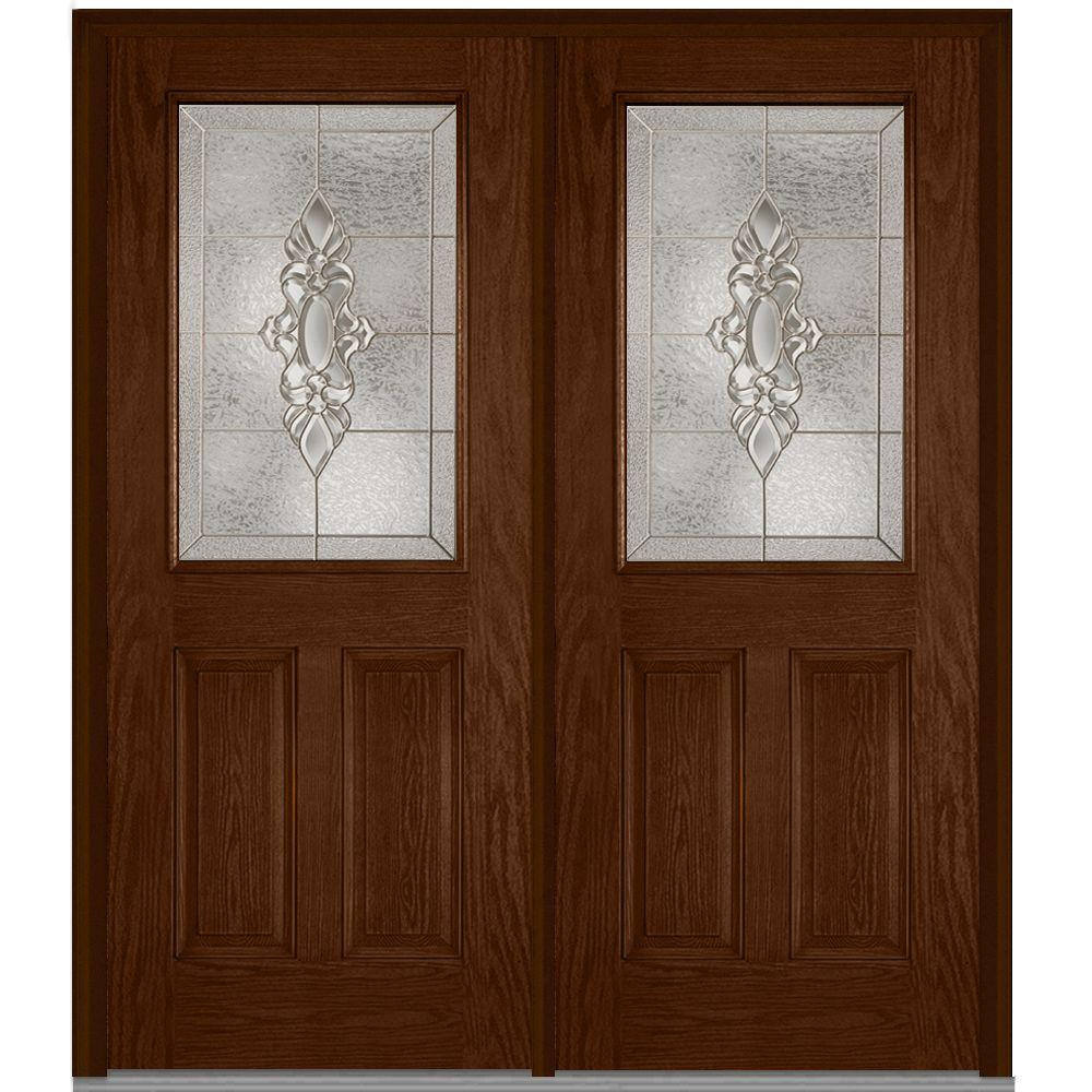 72 in. x 80 in. Heirloom Master Right-Hand Inswing 1/2-Lite Decorative