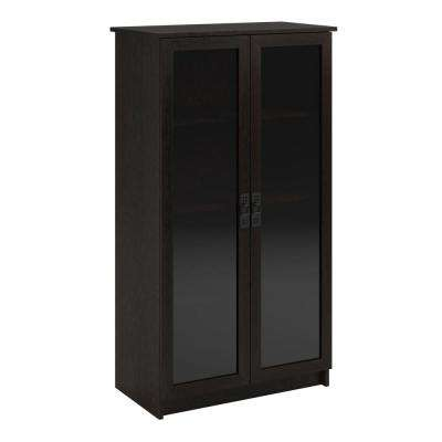 Lockwood Espresso Glass Door Bookcase