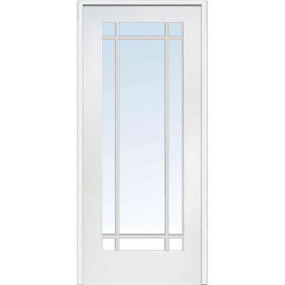 36 in. x 80 in. Right Handed Primed Composite Clear Glass 9 Lite True Divided Single Prehung Interior Door