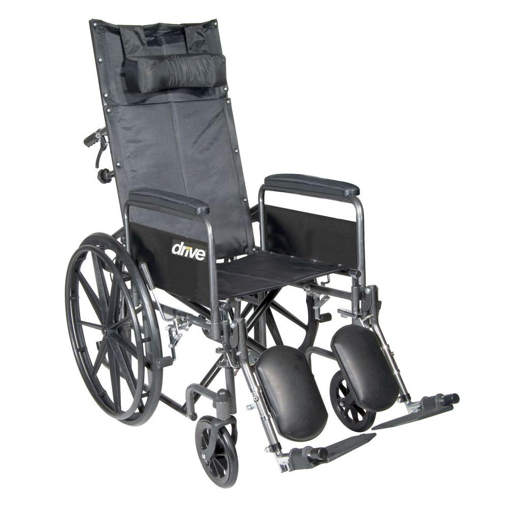Silver Sport Reclining Wheelchair with Elevating Leg Rests, Detachable Full Arms