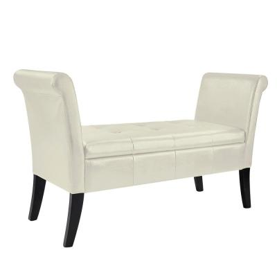 Antonio Cream Bonded Leather Storage Bench with Scrolled Arms
