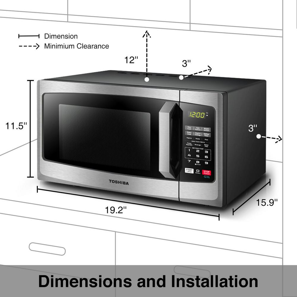 Toshiba 0 9 Cu Ft Stainless Steel Countertop Microwave Oven