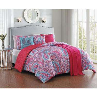 Seville 7-Piece Pink Queen Comforter Set with Throw