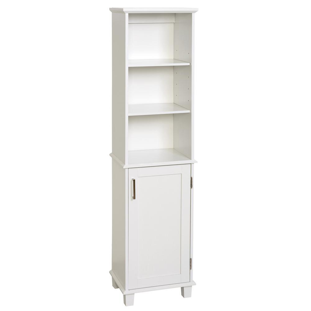 Shaker Style 16 in. W x 12 in. D x 62.25 in. H Linen Cabinet in White