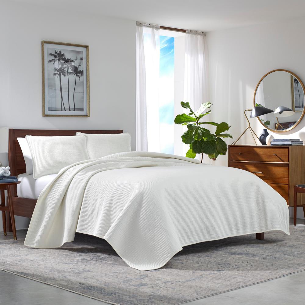 Haverhill Solid 3-Piece Beige Cotton King Quilt Set