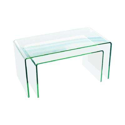 3/8 in. Thick 2-Pieces Clear Bent Glass Nest Tables