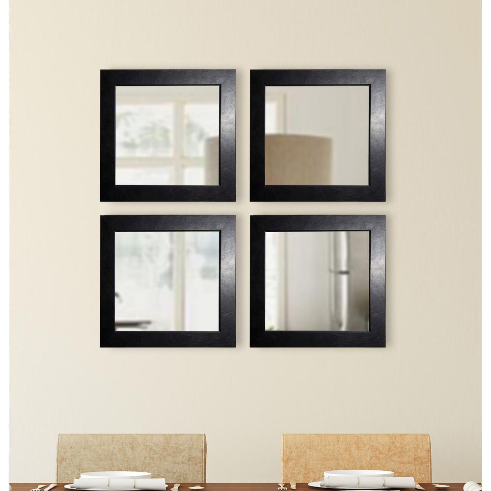 Black Superior Square Wall Mirrors Set Of 3