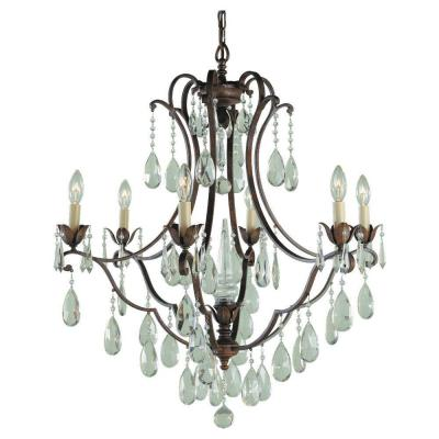 Maison De Ville 27.75 in. W x 31 in. H 6-Light British Bronze French Country Chandelier with Crystal and Bead Accents