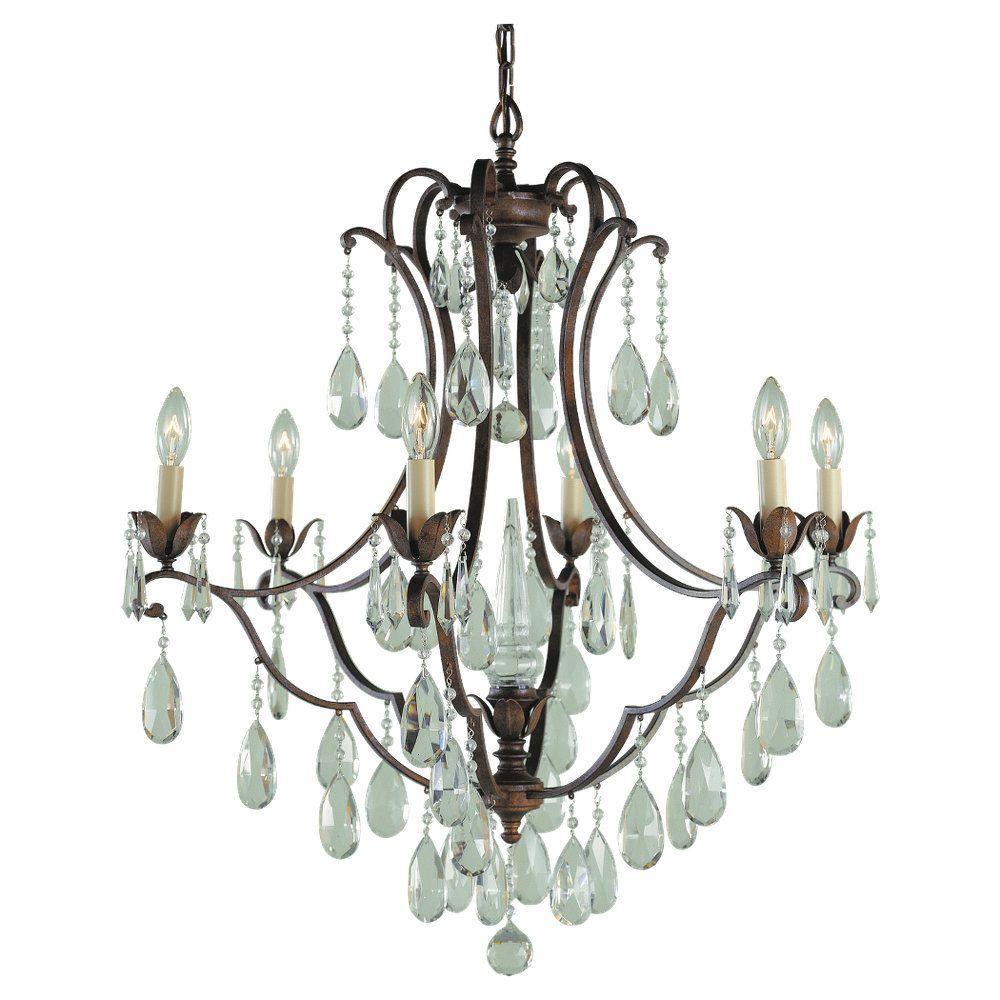 Crystal Bronze Chandeliers Lighting The Home Depot