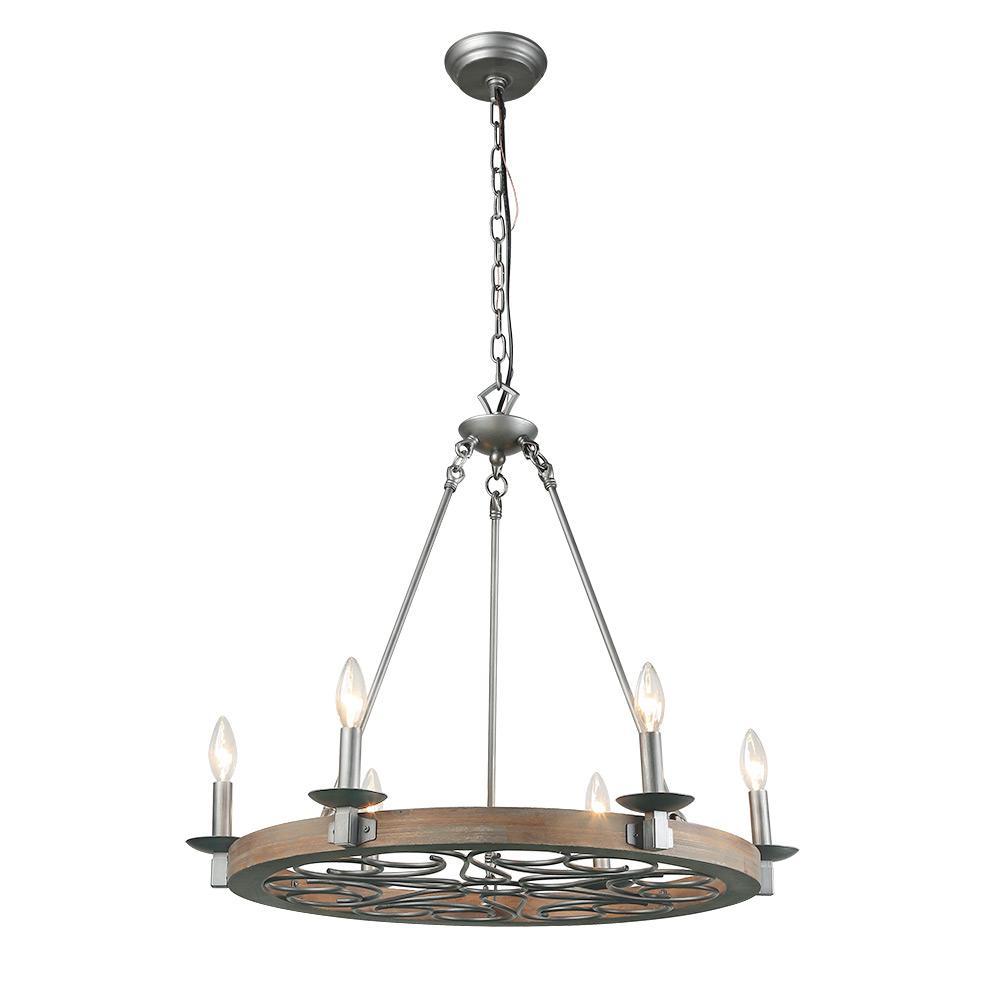 6-Light Silver Wood Chandelier