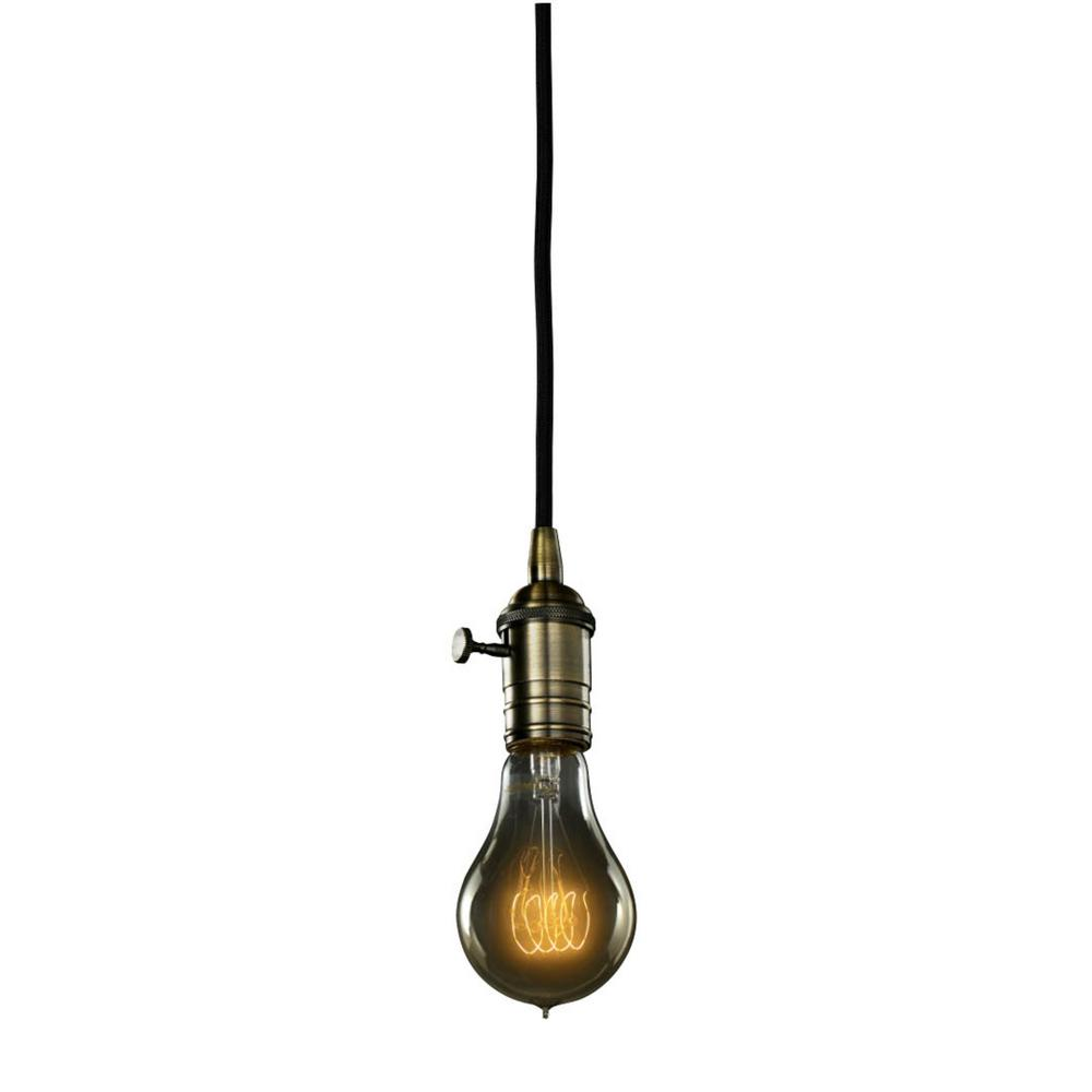 Bulbrite 1 Light Warm Gold Vintage Pendant Socket And Canopy With Incandescent 25w A21 Nostalgic
