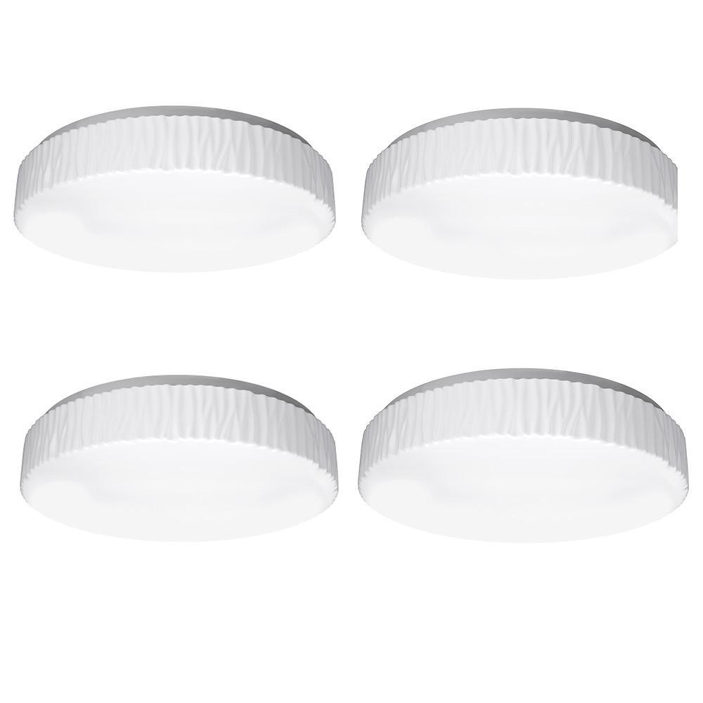 11 in. Glacier Decorative Border 3000K 4000K 5000K Selectable LED Flush Mount Ceiling Light 910 Lumens Dimmable (4 Pack)