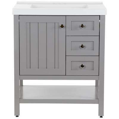 Lanceton 31 in. W x 22 in. D Bath Vanity in Sterling Gray with Cultured Marble Vanity Top in White with White Sink