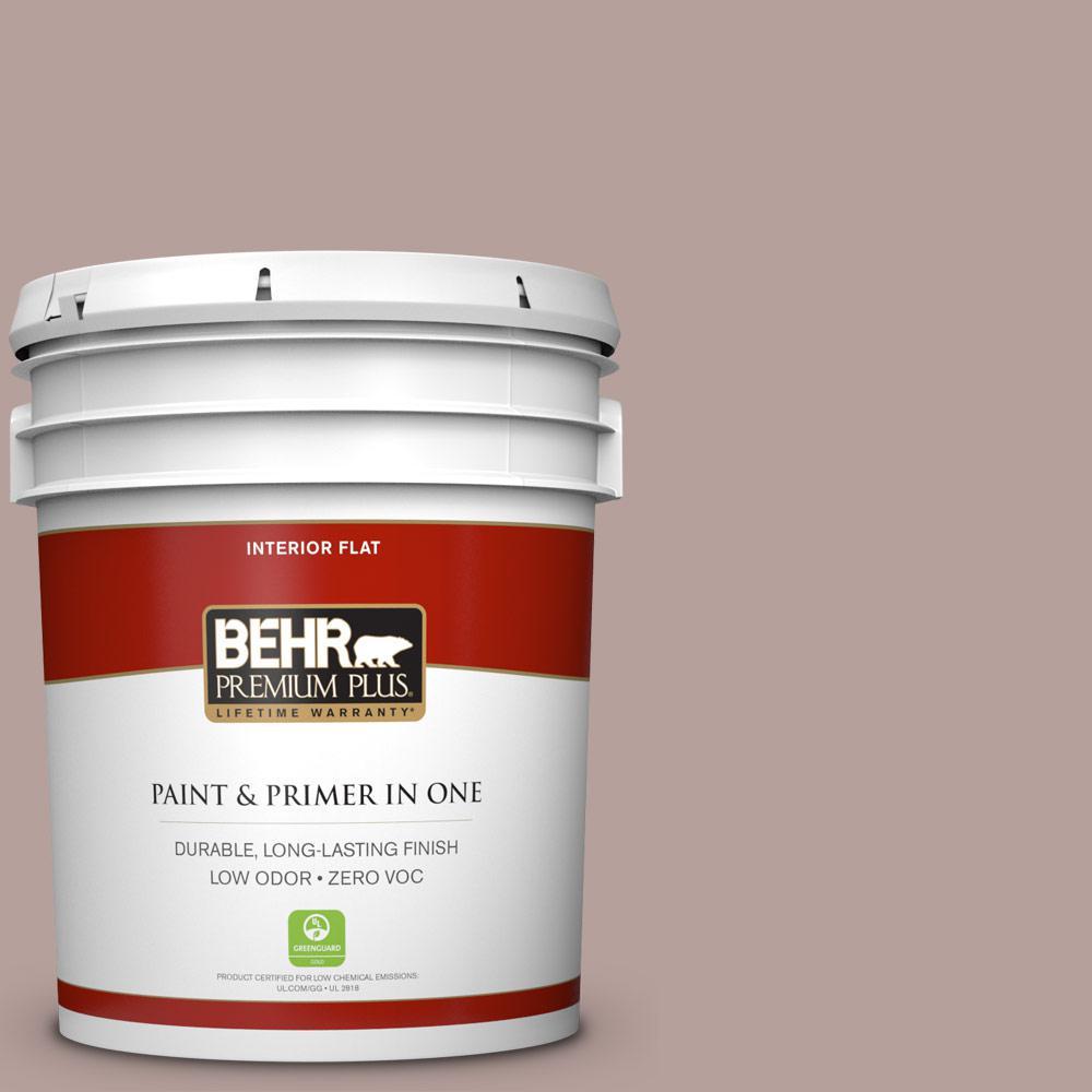 BEHR Premium Plus 5 gal. #N130-4 Plum Taupe Flat Zero VOC Interior Paint and Primer in One