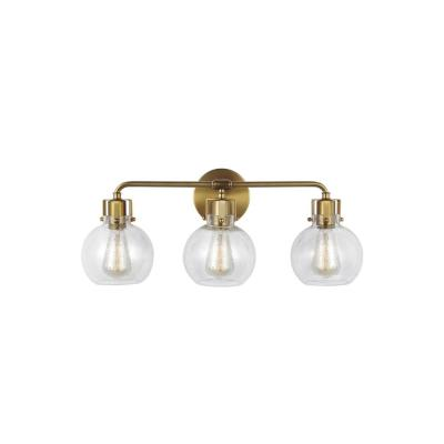 Clara 24 in. 3-Light Burnished Brass Vanity Light Clear Seeded Glass Shades