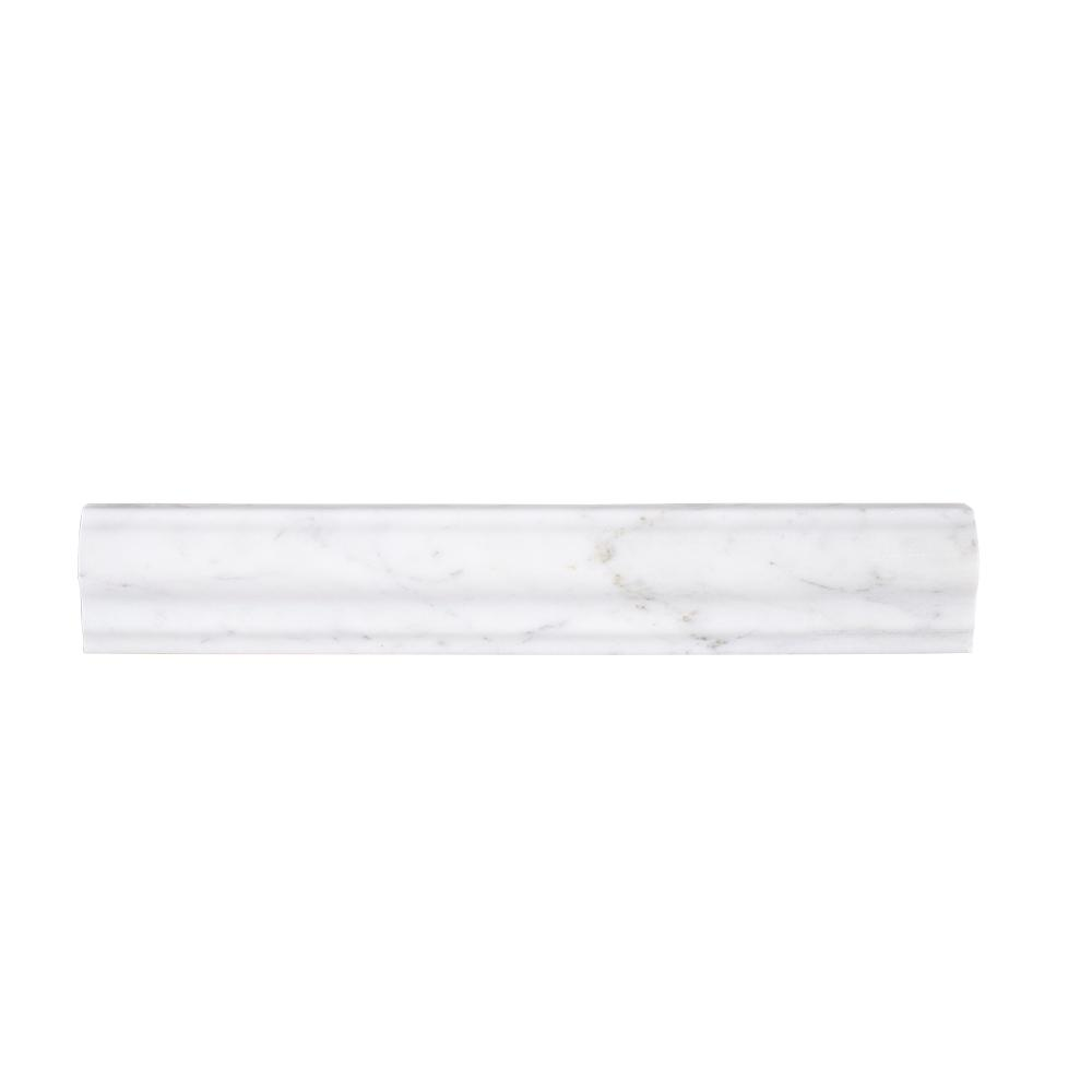 Carrara 2 in. x 11-7/8 in. Honed Marble Rail Trim