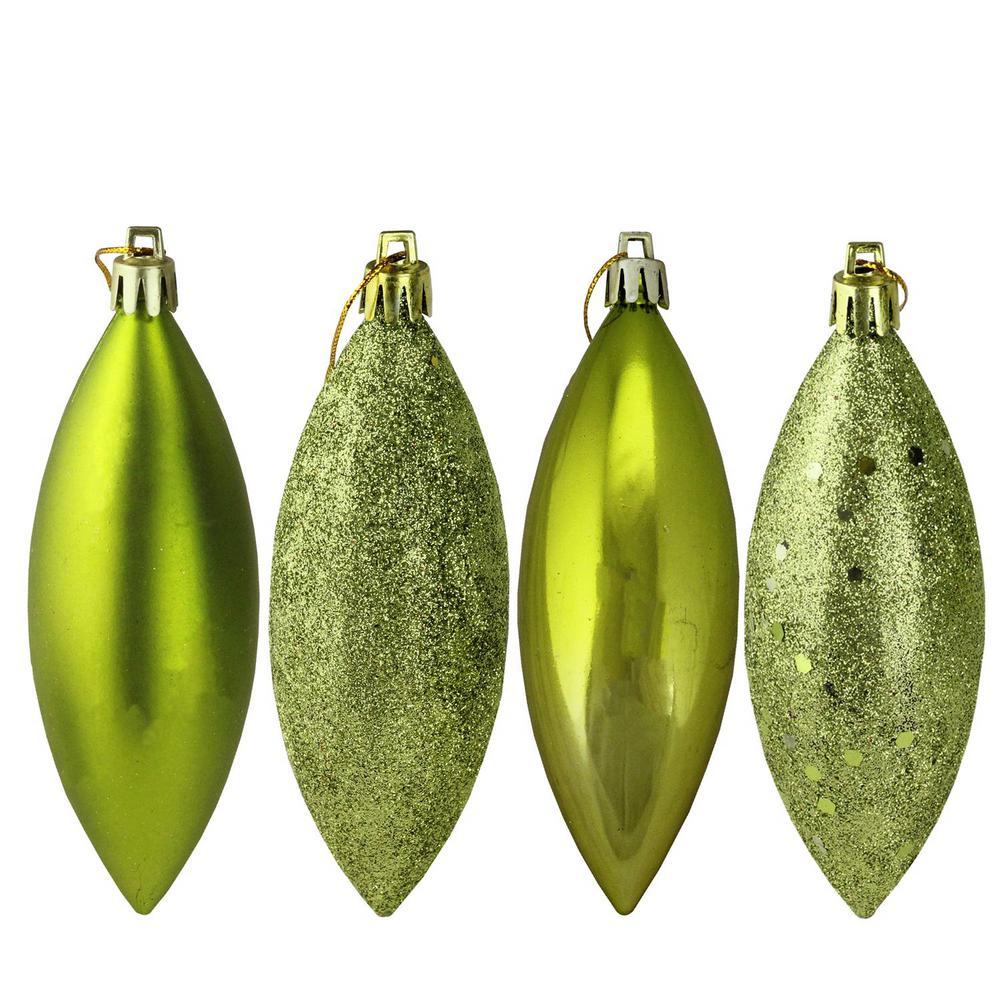 Green Kiwi Shatterproof 4-Finish Finial Drop Christmas Ornaments (8-Count)