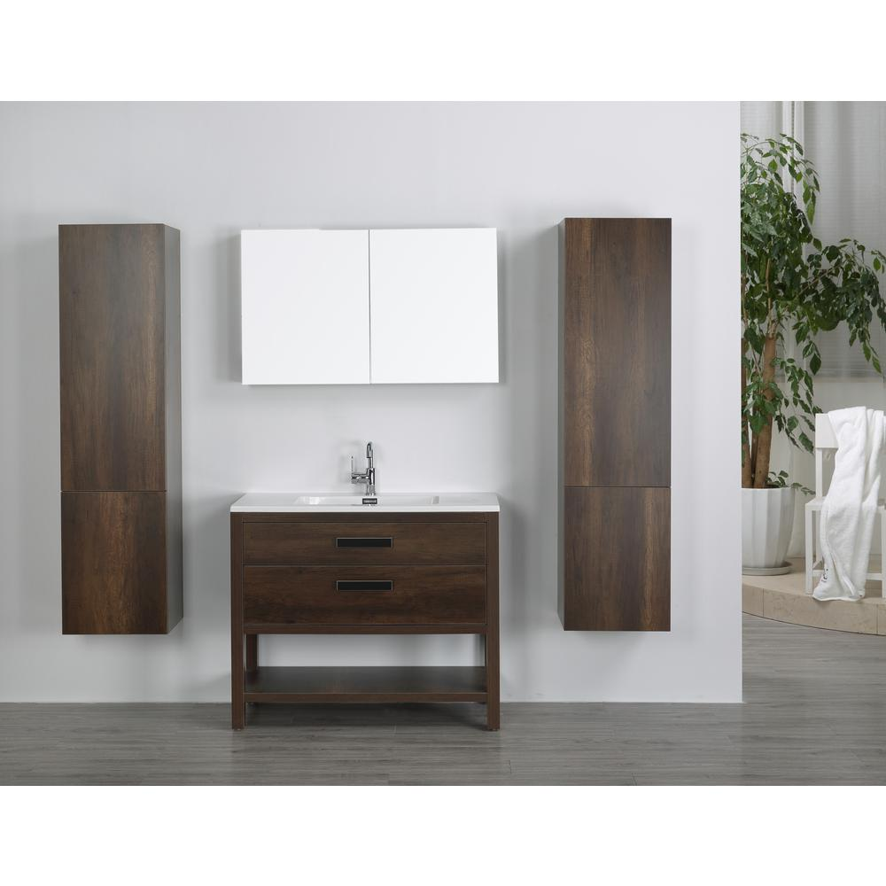 Streamline Vanity Brown Resin Vanity Top White Basin Mirror