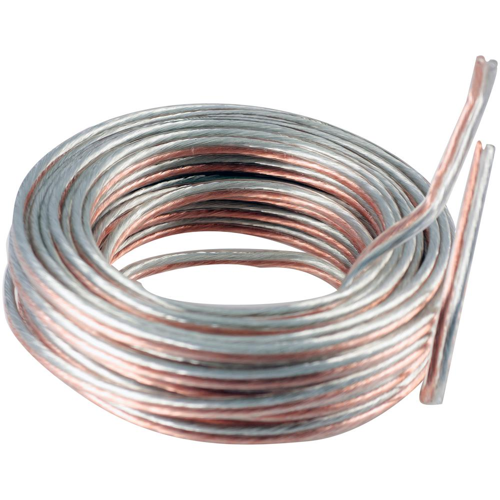 GE 50 ft. 14-Gauge Silver and Copper Speaker Wire Silver Wiring on
