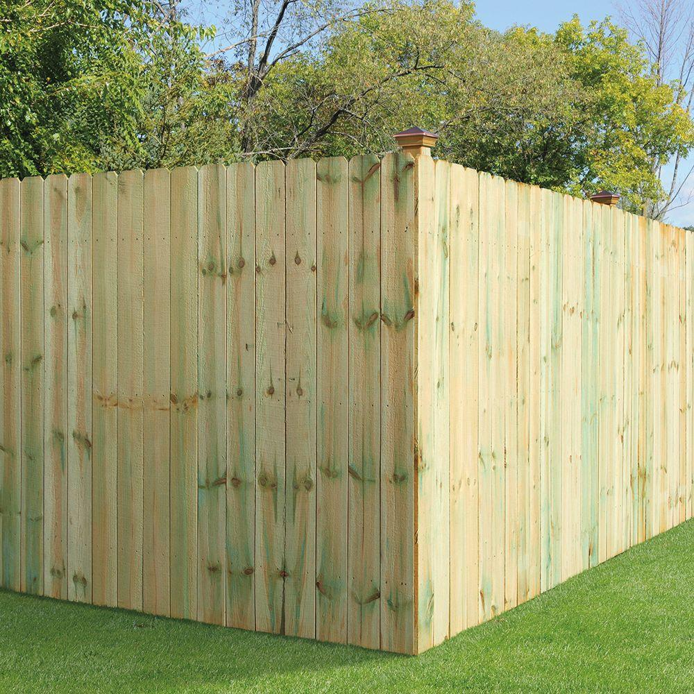 6 Ft H X 8 W Pressure Treated Pine Dog Ear Fence Panel 158083 The Home Depot