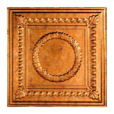 Rosette - 2 ft. x 2 ft. Lay-in Ceiling Tile in Muted Gold