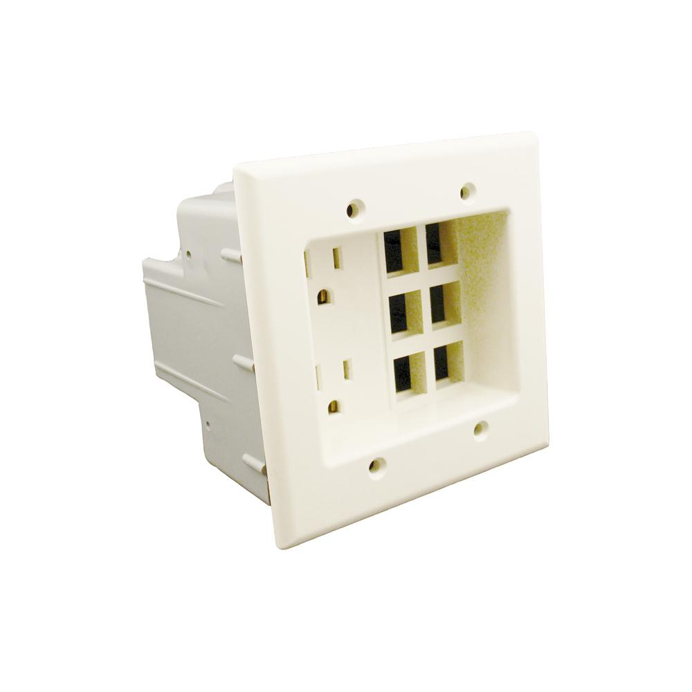 Leviton 2-Gang Recessed Entertainment Box with Duplex Out...