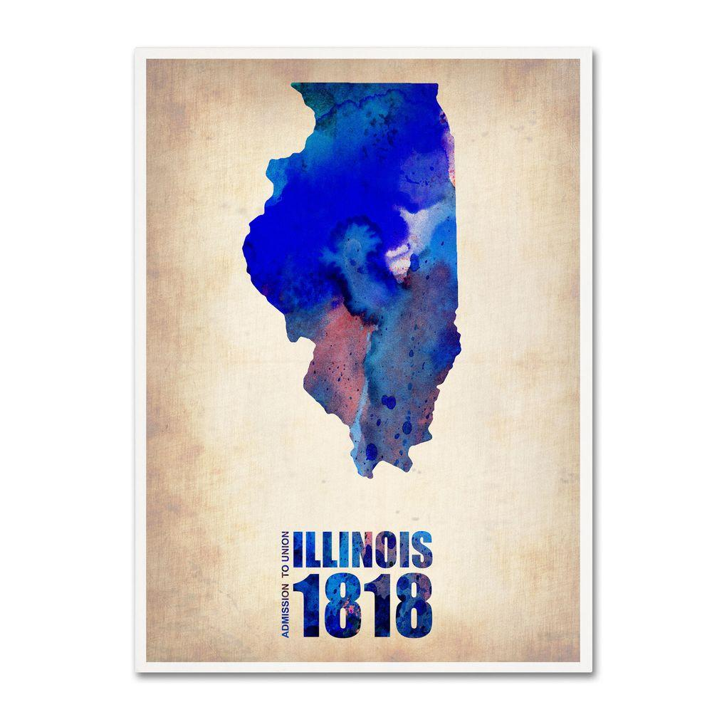 32 in. x 24 in. Illinois Watercolor Map Canvas Art