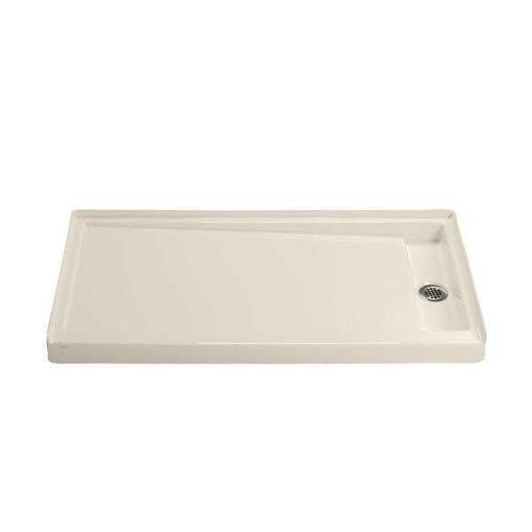 Groove 60 in. x 32 in. Acrylic Base with Right-Hand Drain in Almond