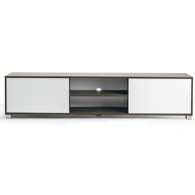 Annie TV Stand Walnut Finish TV Console with Contrasting White Door