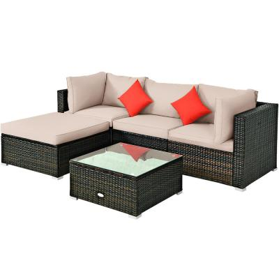 Island 5-Piece Wicker Outdoor Patio Rattan Furniture Sectional Conversation Set with Beige Cushion
