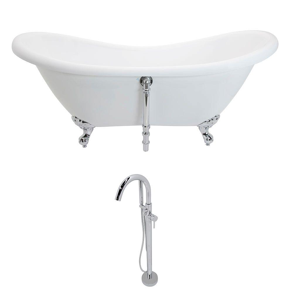 Aegis 68.75 in. Acrylic Double Slipper Clawfoot Non-Whirlpool Bathtub in White