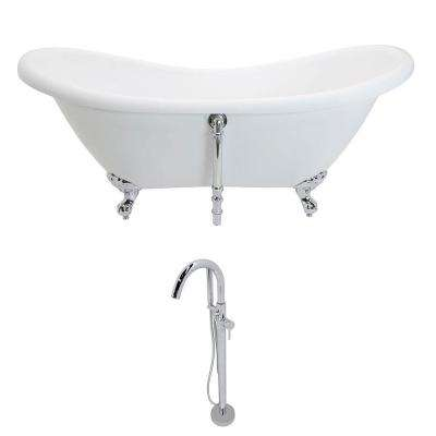Aegis 68.75 in. Acrylic Double Slipper Clawfoot Non-Whirlpool Bathtub in White and Kros Series Faucet in Polished Chrome
