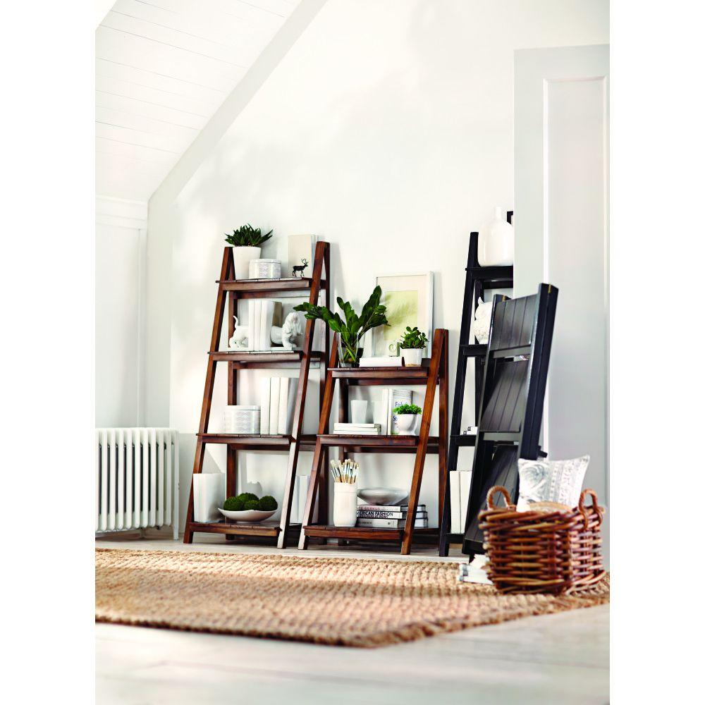 Nolan Warm Brown Folding Ladder Bookcase