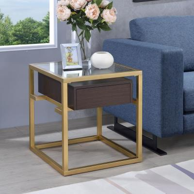 Yumia Gold and Glass Square End Table
