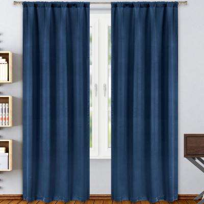 Solid Navy Polyester Blackout Rod Pocket Window Curtain 38 in. W x 84 in. L (2-Pack)