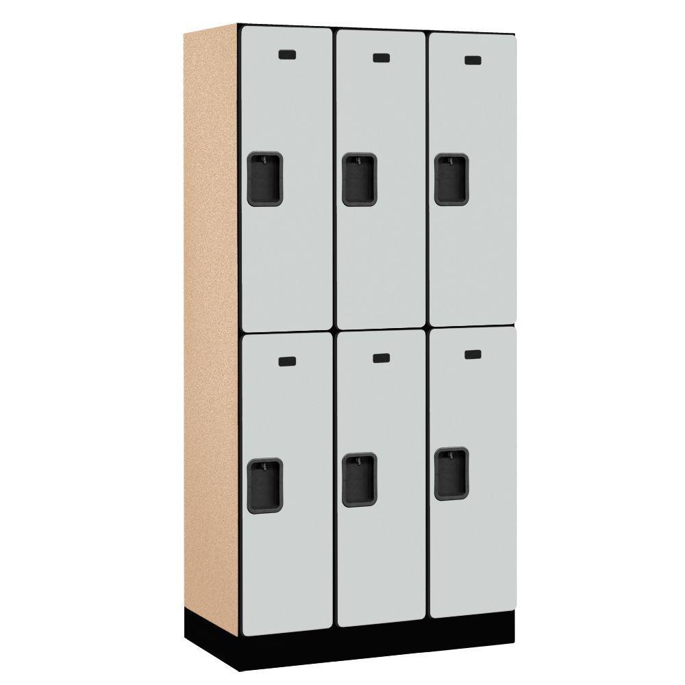 32000 Series 36 in. W x 76 in. H x 18 in. D 2-Tier Designer Wood Locker in Gray