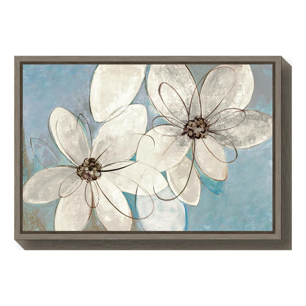 amanti art blue and neutral floral by silvia vassileva framed