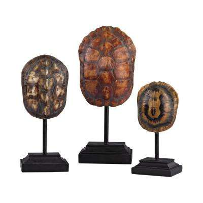 12 in. x 9 in. x 7 in. Natural Decorative Turtle Shells on Stands (Set of 3)