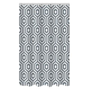 Bath Bliss Dobie 72 inch Gray Shower Curtain Hexagon Design with Hooks by Bath Bliss