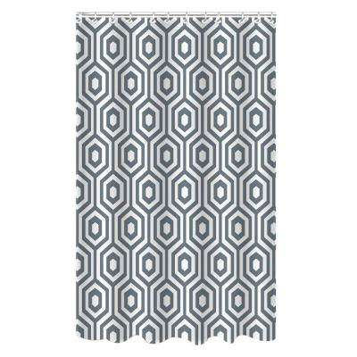 Dobie 72 in. Gray Shower Curtain Hexagon Design with Hooks