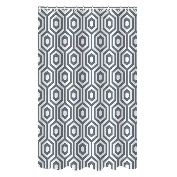 Bath Bliss Dobie 72 in. Gray Shower Curtain Hexagon Design with