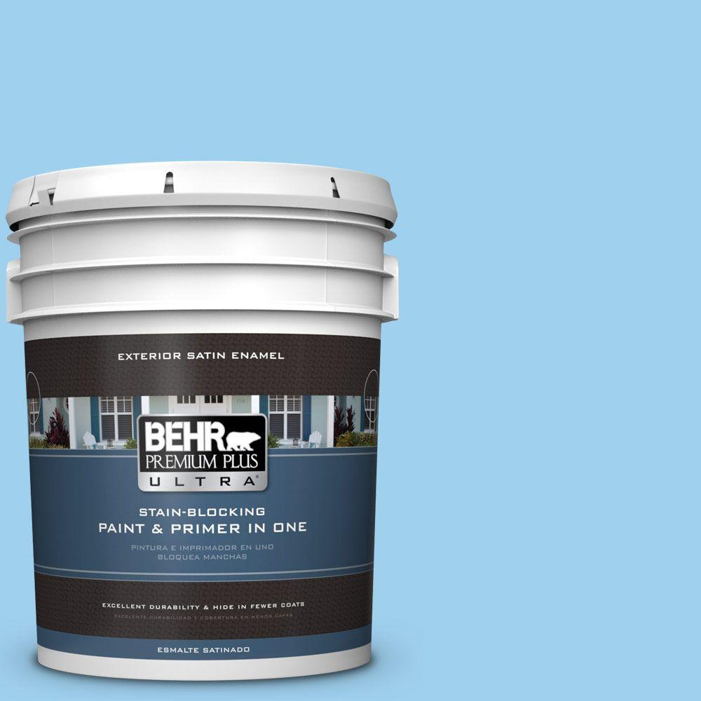 BEHR Premium Plus Ultra 5-gal. #P500-3 Spa Blue Satin Enamel Exterior Paint