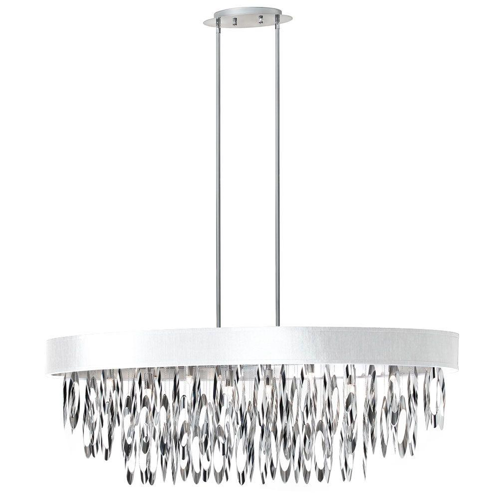 Allegro 8-Light Polished Chrome Oval Chandelier with White Shade